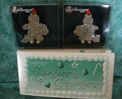 "Longaberger ""roger & Ginger"" Gingerbread Siblings~2"" Pewter Ornaments~2000~Niob"