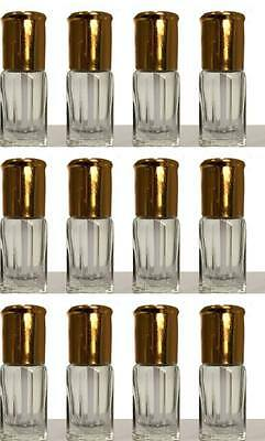 12 X Empty Attar Perfume Bottles 3Ml  Clear Bottles With Sticks