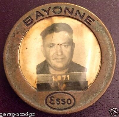 Vintage Whitehead Hoag Esso Oil Gas Employee Badge Photo Id Pin Bayonne Nj