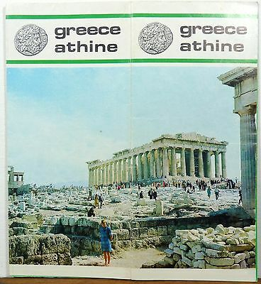 1971 Athine Athens Greece vintage travel brochure map b