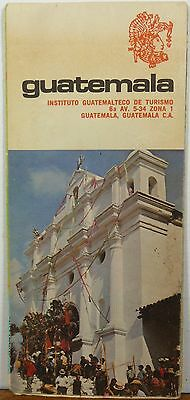 1974 Gutemala vintage road map travel brochure b