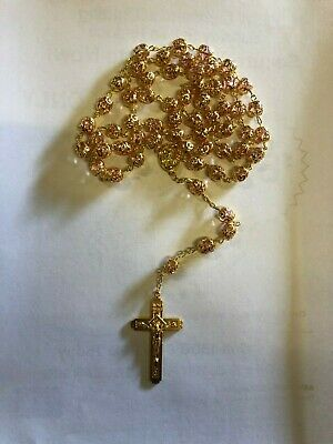 NEW Larger Gold Rosary Round Beads GOLD Necklace/Crucifix in Gift Box