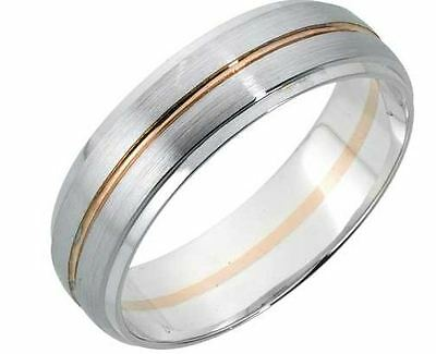9ct White and Rose Gold 5mm Diamond Cut Wedding Band Size O Hallmarked