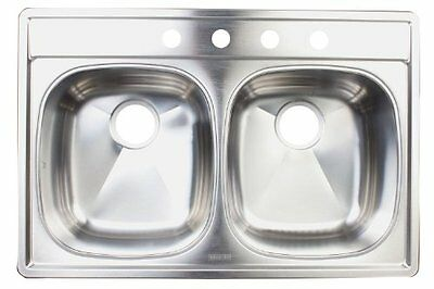 FrankeUSA DSKD954-18BX 4-Hole Double-Bowl Top Mount Kitchen Sink, Stainless Stee
