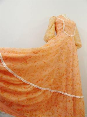 Vintage Dress 60s 70s Revival Festival Flower Child Peach Floral Modern Small