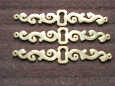 3 french Vintage solid brass DRAWER  Escutcheons Plates