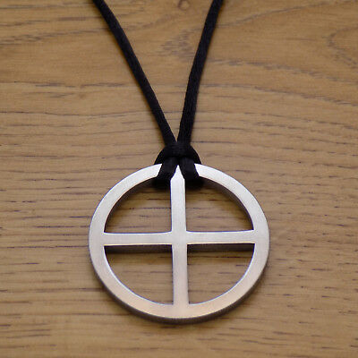 Small sun cross norse viking artisan silver tone pewter amulet sun solar cross stainless steel pendant black cord necklace viking sun wheel aloadofball Choice Image
