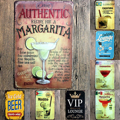 Vintage Cocktails Wine Metal Sign Tin Picture Poster Wall Plaque Pub Bar Decor