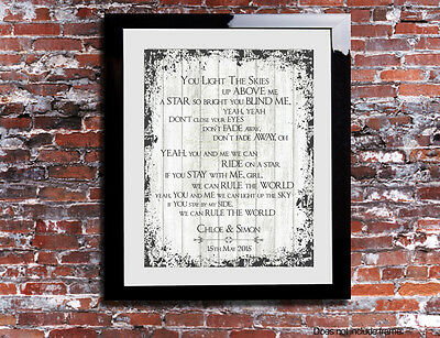 Take That Rule The World Lyrics Word Wedding Song Personalised Canvas Gift