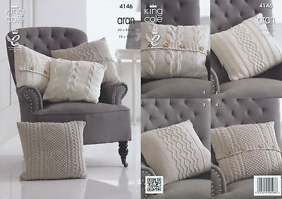Cable Knit Cushion Covers Cotton Aran Knitting Pattern King Cole
