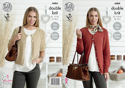 King Cole Womens Double Knitting Pattern Easy Knit Raglan Sleeve Cardigans 4484