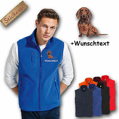 Fleece vest Embroidered Dog Dackel red brown Teckel + Name