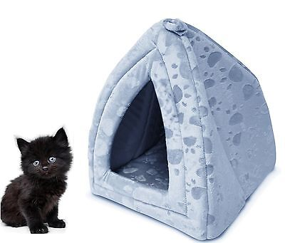 Dog Cat Warm Fleece Winter Bed Igloo House Soft Luxury Basket For Pets Blue