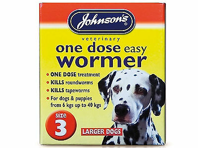 Johnson's One Dose Easy Wormer Size 3 Large Dog