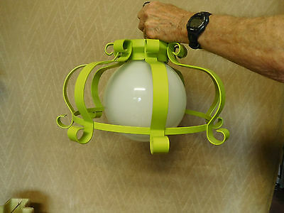 VTG.Thomas Lighting Moe RETRO GREEN Wrought Iron Ceiling Light Fixture~ FREE S&H