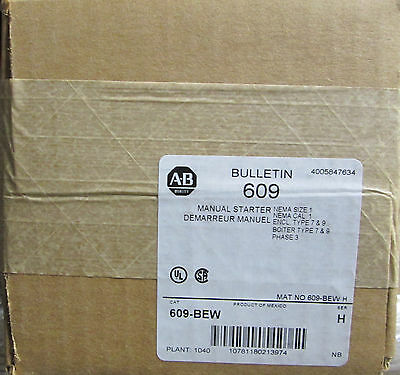 Allen Bradley 609-BEW 609BEW Starter Manual Starting Switch NEW UNUSED