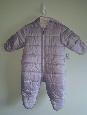 NWT Old Navy GIRLS BOYS Infant Baby 0-3 MONTHS Snowsuit SILVER GRAY Coat #321416