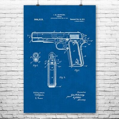 Vintage Colt 1911 Automatic Pistol Gun Advertising Giclee Canvas Print 20x29