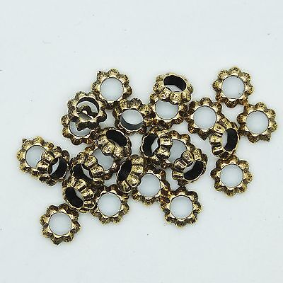 Floral Ring Washer Spacer Bead 10mm Metalized Large Hole Antiqued Gold  pk/25