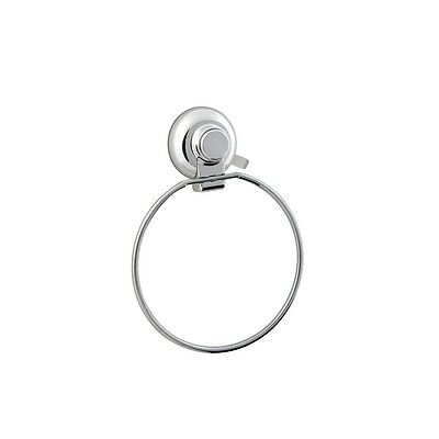 Chrome Metal Shower Bathroom Hand Towel Ring Holder Super Suction Cup WallMount