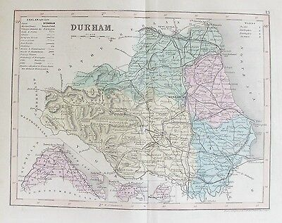 OLD ANTIQUE MAP DURHAM by J ARCHER c1840's HAND COLOURED ENGRAVING