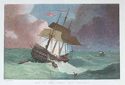OLD ANTIQUE PRINT EAST INDIA COMPANY SHIP KENT LOSS  c1880's by KRONHEIM