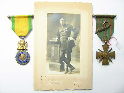 Armee Air Francaise 1°Guerre Ww1    Pilote Photo Medailles  Grouping