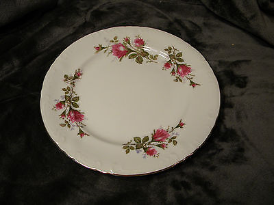 "Vintage ROYAL ROSE Fine China Japan-Beautiful Moss Rose w/Gold Trim 10"" Plate"