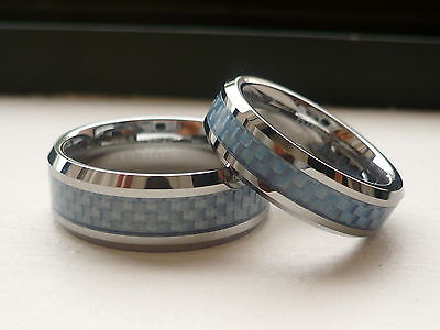 TUNGSTEN CARBIDE HIS & HER WEDDING BAND RING SET blue carbon fiber 8&6MM 5-13.5