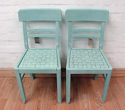 Charming Pair Of Vintage French Duck Egg Painted Chairs - C1950