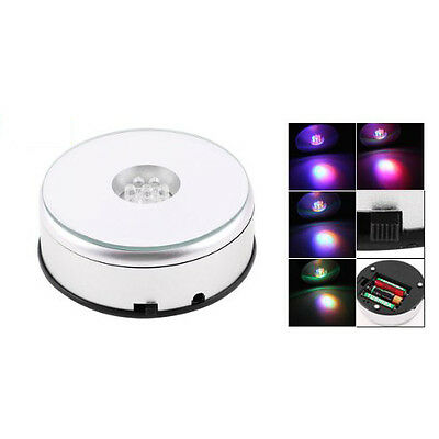 7 LED Light Stand Turntable Rotating Base for Display Crystals Glass FP7