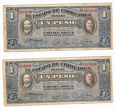 Lot of Two Sequential Serial # UN PESO State of Chihuahua, Mexico  Jun 10, 1915