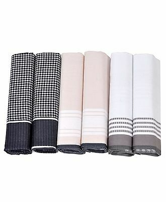 Patterned Boxed Men's 100% Cotton 6 Pc Handkerchief Assorted Set (FH006)