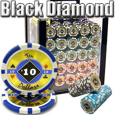 NEW 1000 Black Diamond 14 Gram Clay Poker Chips Set Acrylic Carrier Case Custom