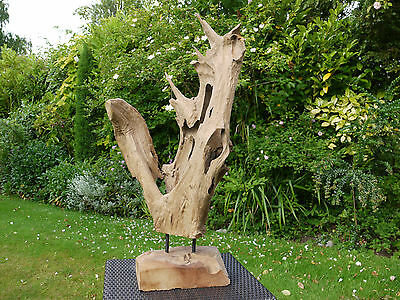 Hand Carved Metal Wooden Sculpture Indoor Home Decoration Artwork Free Stand NEW