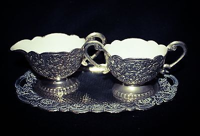 Vintage CREAM MILK & SUGAR SET on Scallop Edge Tray Silverplate white Enameled