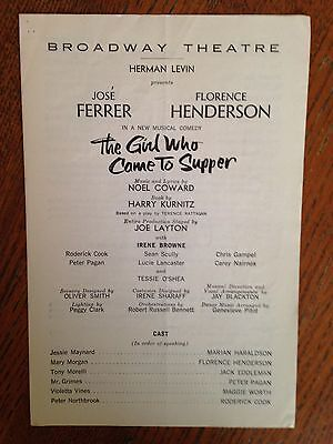 THE GIRL WHO CAME TO SUPPER - FLORENCE HENDERSON JOSE FERRER  Theatre Program