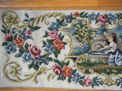 Antique embroidered cover panel for piano chair Petit Point needlepoint tapestry