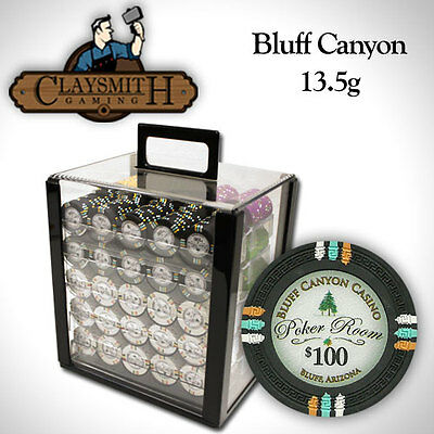 NEW 1000 Bluff Canyon 13.5 Gram Clay Poker Chips Set Acrylic Carrier Case