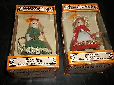 Lot 2 Jasco L'll Little Chimers Heirloom Doll Christmas Ornament Bell Red Green
