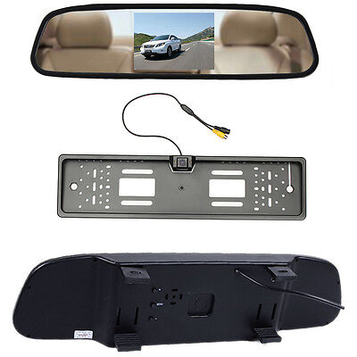 "Number Plate Car Reversing Rear View Camera + 4.3"" LCD Color Mirror Monitor DVR"