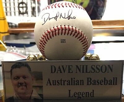 Dave Nilsson Signed Baseball In Display Case