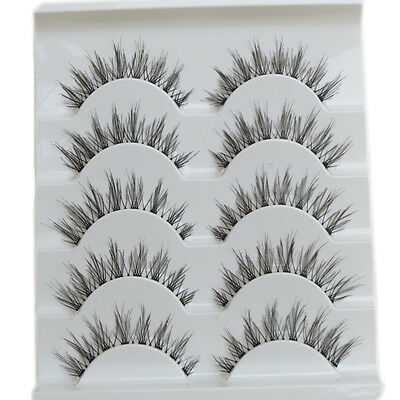 Beauty 5 Pairs Makeup Handmade Natural Fashion Long False Eyelashes Eye Lashes A