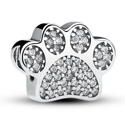 Authentic 925 Sterling Silver Bead Paw Footprint Charm w/ Clear CZ Fot Bracelet