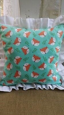 Reversible Cuddle Toss Throw Pillow Woodland Fox Baby Nursery Boy Girl NEW
