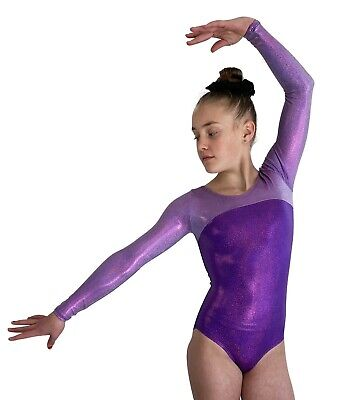 NEW PURPLE SHINY LONG SLEEVE Adult S 60cm Ladies 8 Gymnastic Dance Fancy Leotard