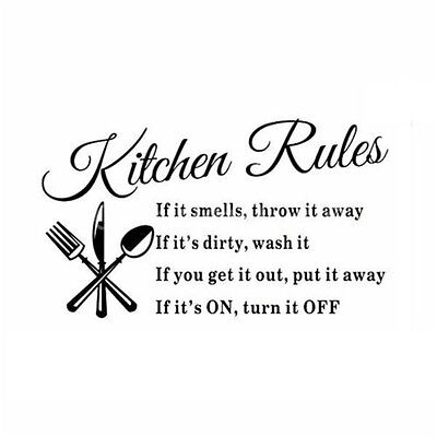 Kitchen Rules Restaurant Wall Sticker Decal Mural DIY Home Decor Art Quote  BF