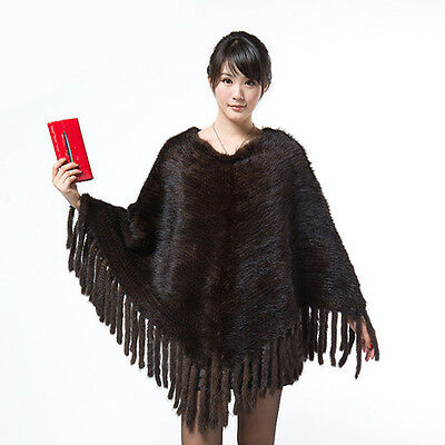16711 100% New Real Knitted Mink Fur Poncho  Warm Shawl Womens Coat Fashion