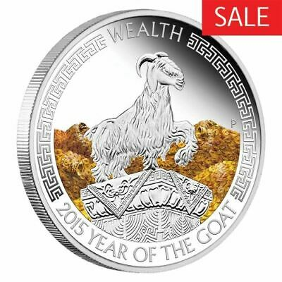 NEW Perth MInt Lunar Good Fortune 2015 Year of the Goat 1oz Pure Silver Coin