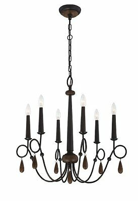 Eurofase 25591 Corso 6-Light Chandelier, Wood With Rustic Iron, New, Free Shippi